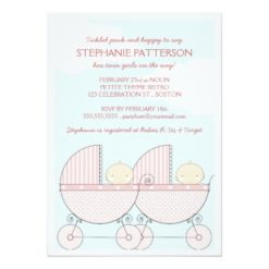 Twin Girl Pink Carriage Happy Baby Shower Invitation Card