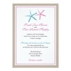 Two Skinny Starfish Wedding Invitation Card