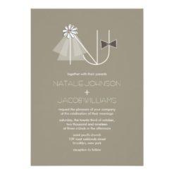Veil & Bow Tie Monogram Custom Wedding Invitation Card