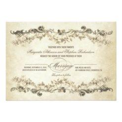 Vintage Aged Wedding Invitation Card