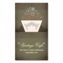 Vintage Bakery Cafe Cupcake Business Card Standard Business Cards