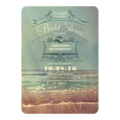 Vintage Beach Bridal Shower Invitation Card