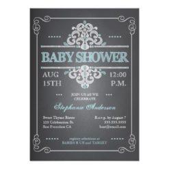 Vintage Chalkboard Baby Shower Boy Blue Invitation Card