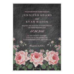 Vintage Chalkboard Flower Wedding Invitation Card