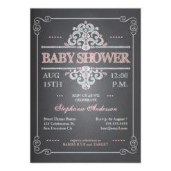 Vintage Chalkboard Girl Baby Shower Invitation Card