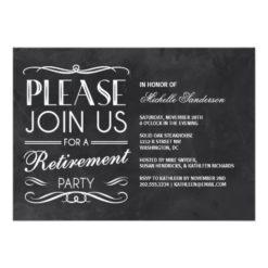Vintage Chalkboard Retirement Party Invitation Card