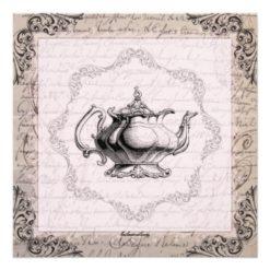 Vintage China Teapot Bridal Shower Tea Party Square Paper Invitation Card