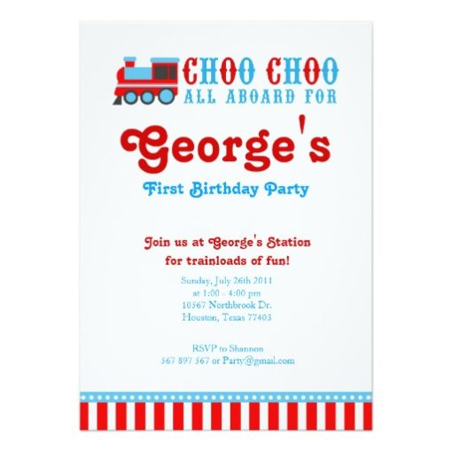 Vintage Choo Choo Train Birthday Invitation Card
