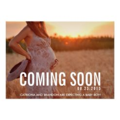 Vintage Coming Soon Photo Pregnancy Announcement Invitation Card