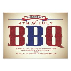 Vintage Country Rustic July 4Th Bbq Invitation Card