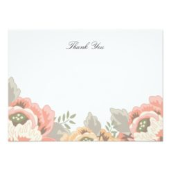 Vintage Floral Thank You Note Card Invitation Card