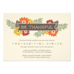 Vintage Floral Thanksgiving Invitation Card