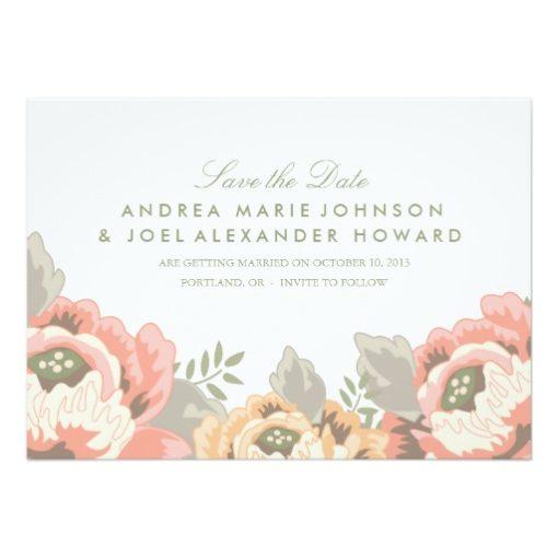 Vintage Floral Wedding Save The Date Invitation Card