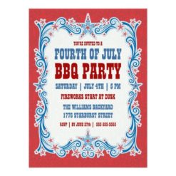 Vintage Fourth Of July Bbq Party Invitation Card