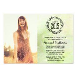 Vintage Green Vines 2015 Photo Graduation Invitation Card
