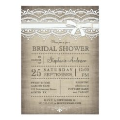 Vintage Lace & Linen Rustic Country Bridal Shower Invitation Card