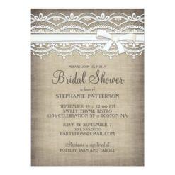 Vintage Lace & Linen Rustic Elegance Bridal Shower Invitation Card