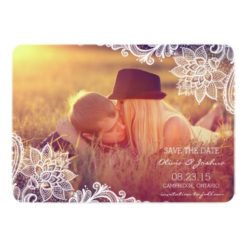 Vintage Lace Photo Save The Date Announcement Invitation Card
