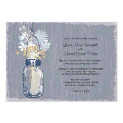 Vintage Mason Jar And Wildflowers Wedding Invitation Card