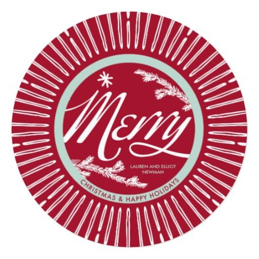 Vintage Merry Round Holiday Card Square Invitation Card