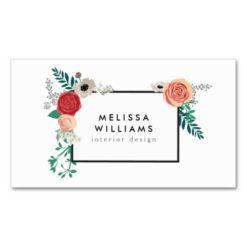 Vintage Modern Floral Motif On White Designer Double-Sided Standard Business Cards (Pack Of 100)