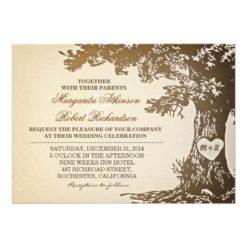 Vintage Old Oak Tree Wedding Invitation Card