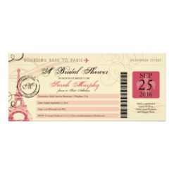 Vintage Paris France Bridal Shower Boarding Pass Invitation Card