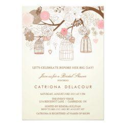 Vintage Pink Birdcages Bridal Shower Invitation Card