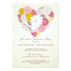 Vintage Pink Floral Heart Graduation Invitation Card