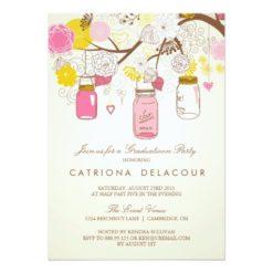 Vintage Pink Mason Jars Graduation Invitation Card