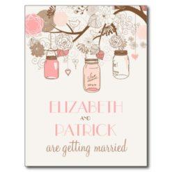 Vintage Pink Mason Jars Save The Date Postcard
