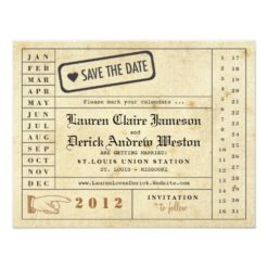 Vintage Punch Card Save The Date Invitation Card