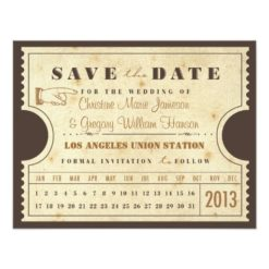 Vintage Punch Card Ticket Save The Date Invitation Card