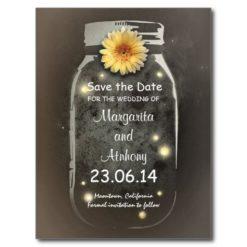 Vintage Rustic Whimsical Mason Jar Save The Date Postcard