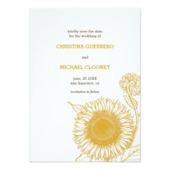 Vintage Sunflower | Save The Date Announcement Invitation Card