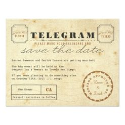 Vintage Telegram Save The Date Paper Invitation Card
