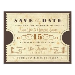 Vintage Ticket Save The Date Paper Invitation Card