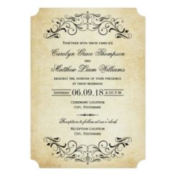 Vintage Wedding Invitations | Elegant Flourish Invitation Card