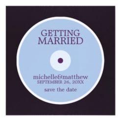 Vinyl Record Wedding Save The Date Square Paper Invitation Card