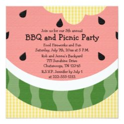 Watermelon Picnic Invitations Square Invitation Card