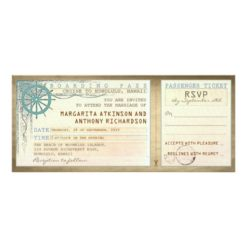 Wedding Boarding Pass-Vintage Tickets With Rsvp Invitation Card