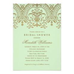 Wedding Bridal Shower | Vintage Glamour In Green Invitation Card