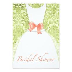Wedding Dress Bridal Shower Peach And Moss Damask Invitation Card
