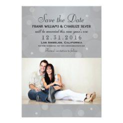 Wedding Photo Save The Date | Platinum Gray Invitation Card