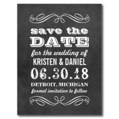 Wedding Save The Dates | Vintage Black Chalkboard Postcard
