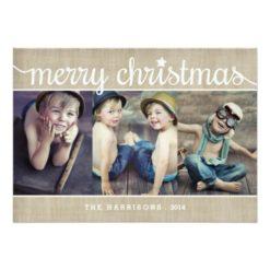 Whimsical Burlap Rustic Merry Christmas Photo Invitation Card