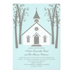 Whimsical Chapel Wedding Invitation Card