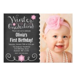 Whimsical Winter Onederland Photo First Birthday Invitation Card