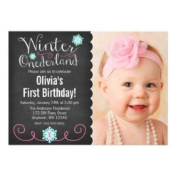 Whimsical Winter Onederland Photo Teal Birthday Invitation Card