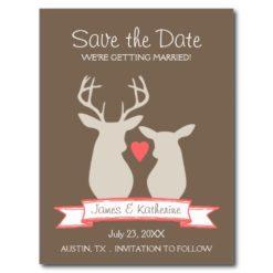Whimsical Woodland Deer Monogram Save The Date Postcard